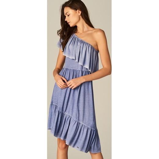 27c345c330 Mohito - Sukienka na jedno ramię z falbaną - Niebieski Mohito niebieski XXS  ...