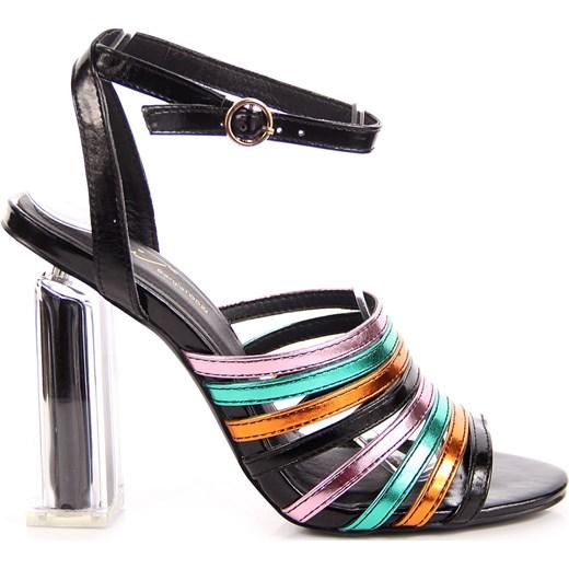 sandały damskie na przeźroczystym słupku