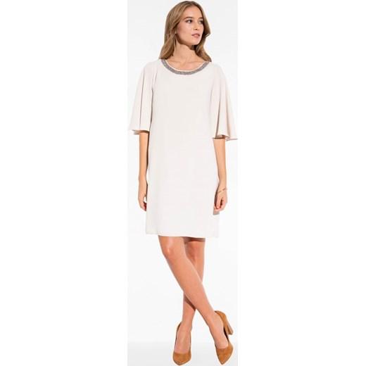 70fa953c43 Zwiewna sukienka o trapezowym kroju L AF LOA bezowy L af Eye For Fashion w  Domodi