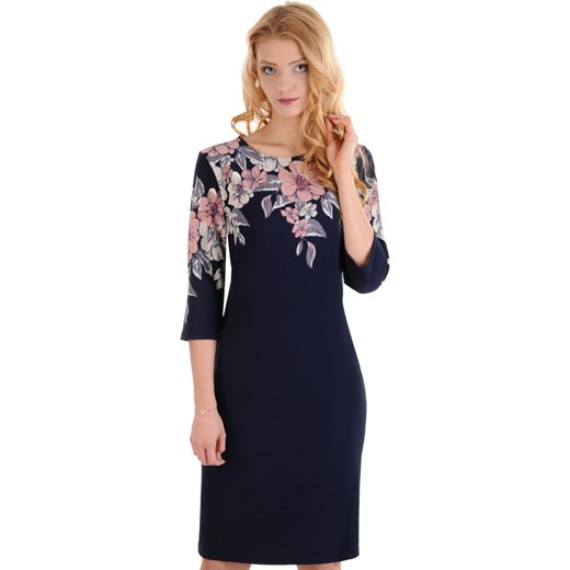4b7c512fe0 M98 Elegancka granatowa sukienka w KWIATY (44-52) Lamar w Domodi