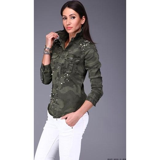 koszula damska made in italy ** jeansowa w moro + nitowane perły LUXURYONLINE
