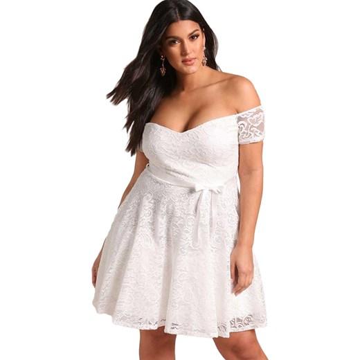 1d3f4f1347 Mini Sukienka Plus Size Malia Biała Elegrina Bialy W Domodi
