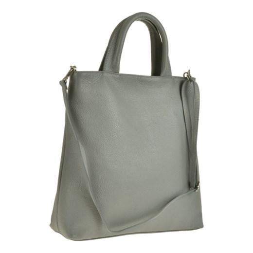2cb51d1cab78c Popielata skórzana torebka typu shopper bag xl Vera Pelle szary melon.pl ...