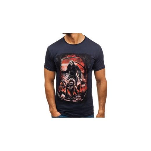 c44255d0b T-shirt męski z nadrukiem granatowy Denley 005 Denley.pl XL okazyjna cena  Denley ...