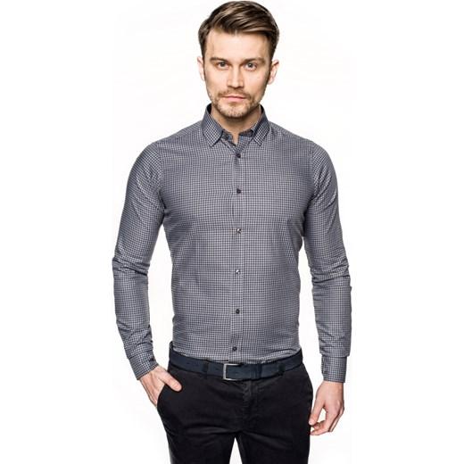 koszula bexley f2680 długi rękaw slim fit szary Recman  YfnBM