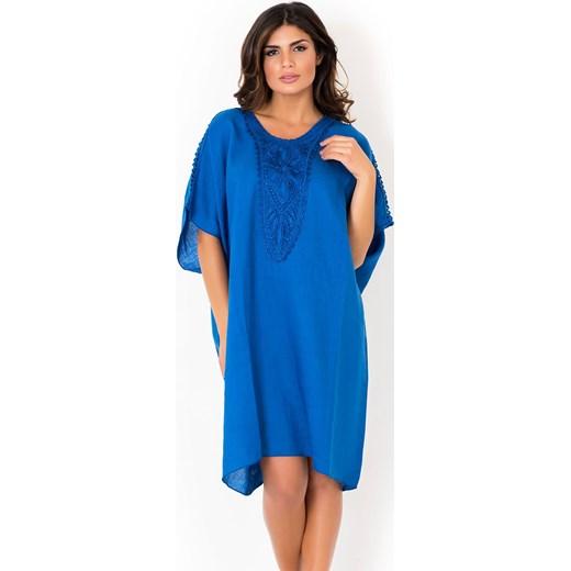 04aae5be88 Włoska lniana sukienka letnia David Beachwear Blue niebieski David  Beachwear M Astratex