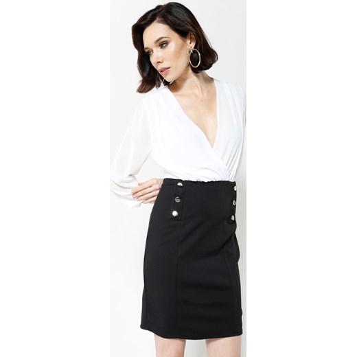 a524eef519 Beżowo-Czarna Sukienka Seductive Back czarny Renee odzież w Domodi