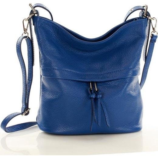 5ce84012921a1 Marcelle - Elegancka torebka skórzana na ramię MAZZINI jeans Mazzini  granatowy One Size wyprzedaż merg.