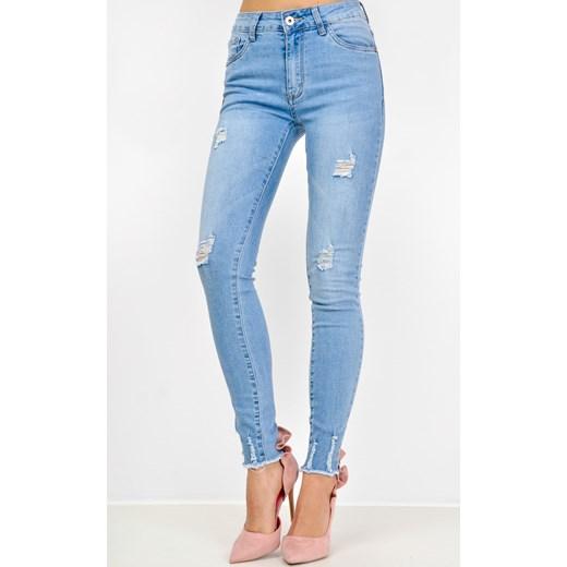 Niebieskie rurki jeans z poszarpanymi nogawkami niebieski Zoio zoio.pl