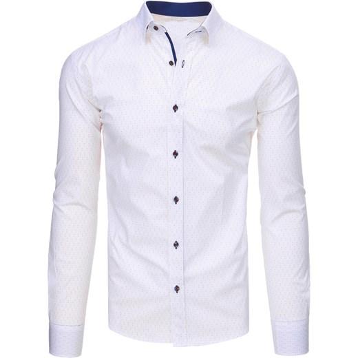 a49b104c4ef0cb Biała koszula męska we wzory z długim rękawem (dx1457) Dstreet w Domodi