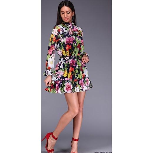 a80dbe0e sukienka lola ** szyfonowa w kolorowe kwiaty LUXURYONLINE