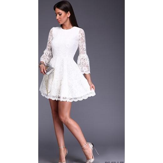4ff7ff0e89b7 sukienka made in italy    sukienka koronkowa w kremowej bieli S LUXURYONLINE  ...