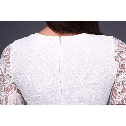 7b86469d96df ... S LUXURYONLINE  sukienka made in italy    sukienka koronkowa w kremowej  bieli M LUXURYONLINE