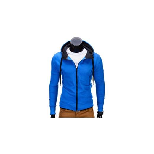 edfeeb22d1cef BLUZA MĘSKA ROZPINANA Z KAPTUREM B485 - NIEBIESKA/CZARNA Ombre Clothing  niebieski M ombre ...