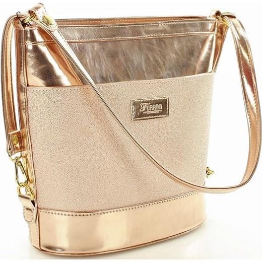 dd4bd39d70419 Kategoria  torby shopper bag. Styl  miejski. FURRINI Torebka na co dzień z regulowaną  rączką różowe złoto Furrini bezowy One Size okazja merg ...