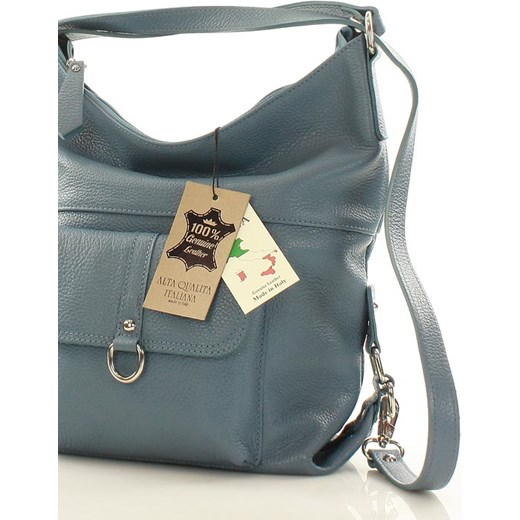 68bc534545767 ... Torebka - plecak ze skóry naturalnej MAZZINI - Alessia jeans denim  Mazzini Verostilo okazyjna cena ...