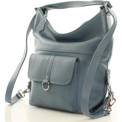 fd0317970d8e0 ... Torebka - plecak ze skóry naturalnej MAZZINI - Alessia jeans denim  Mazzini promocyjna cena Verostilo ...