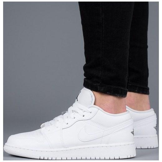 55d39323e5cf Buty damskie sneakersy Air Jordan 1 Low Bg 553560 101 - BIAŁY szary  sneakerstudio.pl