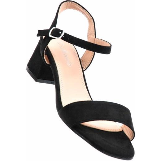ff1eded9a50e5 Damskie sandały na niskim słupku CZARNE /G5-1 1718 S218/ Renda 41  pantofelek24 ...