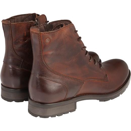 efeb06bb7020 ... skórzane sznurowane  Brązowe buty zimowe męskie Jack   Jones ze skóry  casual sznurowane ...