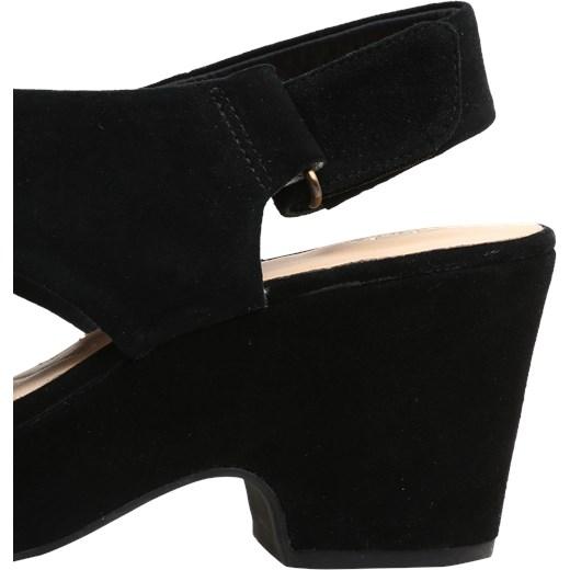 30c715f90960 ... Clarks sandały damskie na platformie na średnim obcasie gładkie na  zamek z zamszu ...