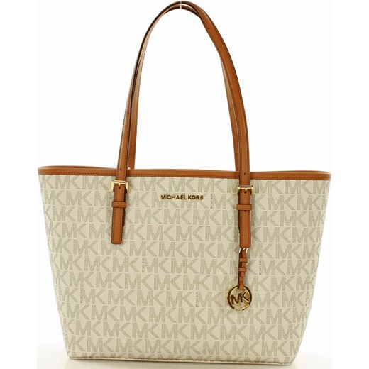 56b00af8c8fae Logowana torebka shopper bag MICHAEL KORS VANIL Michael Kors bezowy  Verostilo promocyjna cena ...