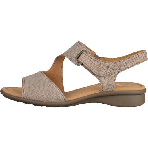 Gabor sandały damskie beżowe gładkie z niskim obcasem na