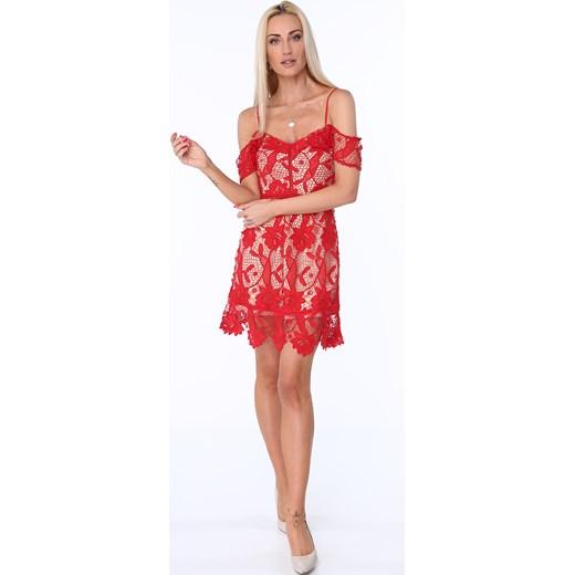 d5c52ceaf3 Koktajlowa sukienka z koronki czerwona ZZ313 czerwony fasardi S fasardi.com  ...
