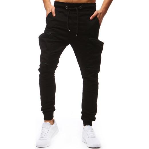 0bee7260109809 Spodnie męskie joggery czarne (ux1250) czarny Dstreet XL wyprzedaż