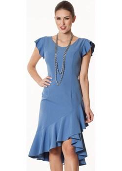 Sukienka  szaro-niebieska Vera Semper   - kod rabatowy