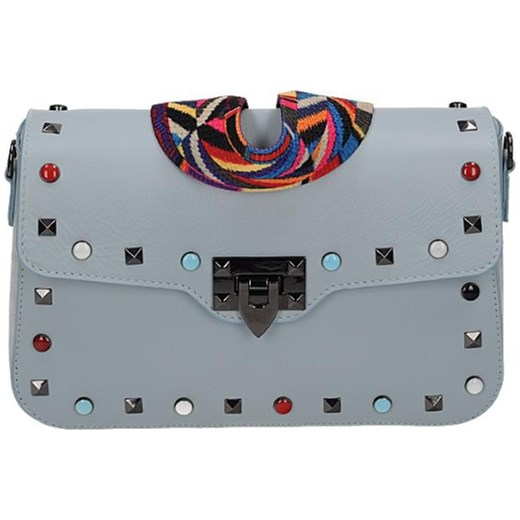 d30ab5ef7f621 Vera pelle włoska torebka skórzana z kolorowym paskiem i ćwiekami  listonoszka szara Vera Pelle rinkopl ...