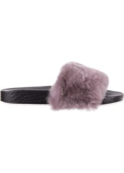 Klapki Bayla-112 0479-17194 Mink Furry, Czarny/Szary, Skóra naturalna fioletowy Bayla wyprzedaż BAYLA.pl  - kod rabatowy
