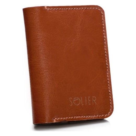 c51161440577e Skórzany cienki portfel męski z bilonówką SOLIER SW16 SLIM brąz Solier  Skorzana.com ...