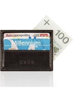 Skórzany portfel wizytownik męski SOLIER SA13 ciemny brąz Solier  Skorzana.com - kod rabatowy