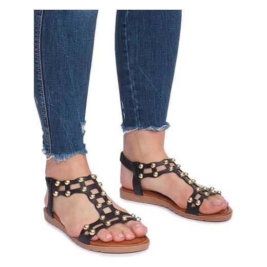 55f956b517b7b Czarne płaskie sandały rzymianki Summer rozowy gemre w Domodi