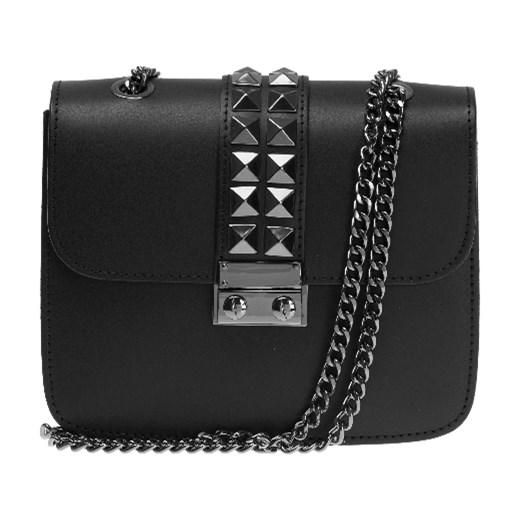 59458d884f9bb Włoska mała torebka z ćwiekami a la Valentino Adorable Intense czarna skóra  naturalna Vera Pelle