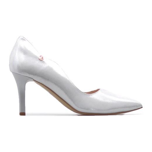 nowy Czółenka Emis S7053442 BiałeSrebrne Arturo obuwie