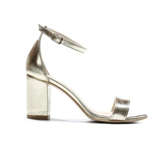 sandałki - skóra naturalna model 342 kolor platynowy Zapato zapato.com.pl wyprzedaż Buty Damskie UN złoty Sandały damskie WOJB