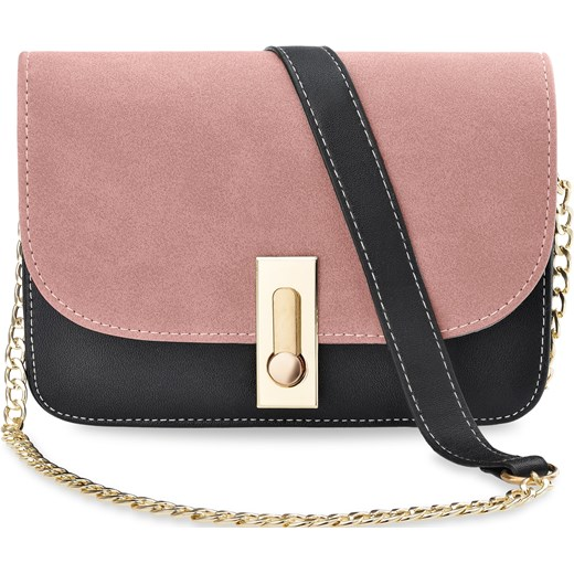 cd7427dd7193f Listonoszka damska stylowa torebka przewieszka na łańcuszku – czarno-różowa  world-style.pl