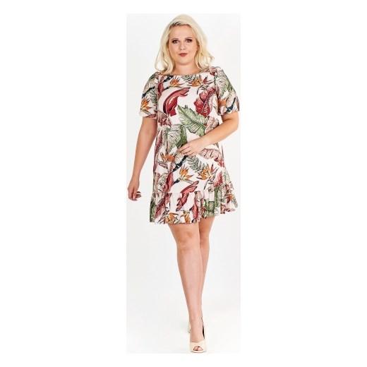 93a0bb166f Trapezowa sukienka w kwiaty z krótkim rękawem Brenda ptakmoda.com w ...