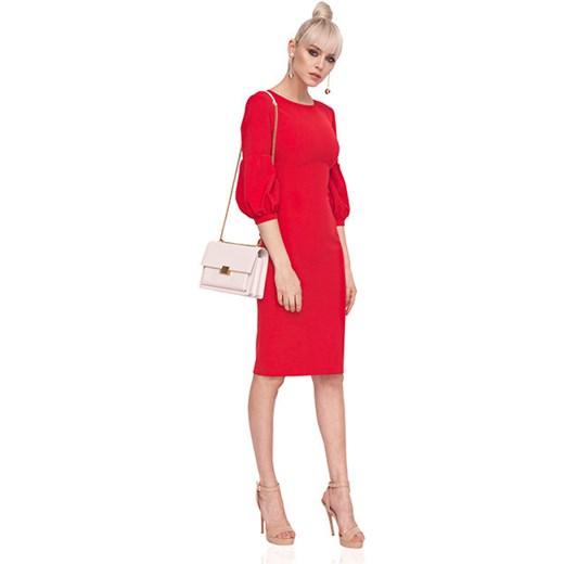 f0103670e0 Sukienka dopasowana z bufiastymi rękawami Nissa showroom.pl w Domodi