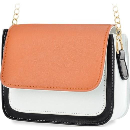 ddeeab03cee14 Listonoszka damska na łańcuszku elegancka torebka – czarno-biała z  pomarańczową klapką world-style.pl
