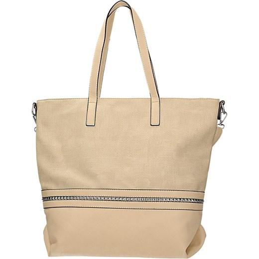 a9b1248850010 Klasyczna torebka damska w kolorze beżowym z ozdobną taśmą DANBLINI JK 1219 Danblini  Fashion Di Zdhou ...