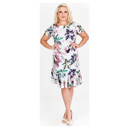 5f360571b0 Wzorzysta sukienka trapezowa z falbaną Wesley ptakmoda.com w Domodi