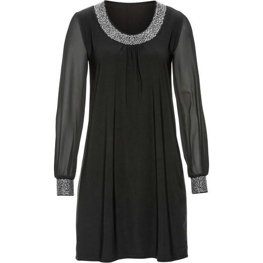 Sukienka z aplikacją ze sztrasów bonprix czarny elegancki