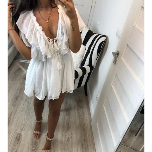 Sukienka biała w kropki, falbana przy dekolcie, wiązana pasie z przodu Hollywood dream