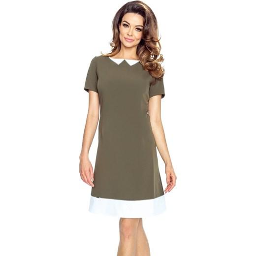689aa43740 ROSALIA – sukienka z imitacją kołnierzyka khaki Bergamo S merg.pl wyprzedaż  ...