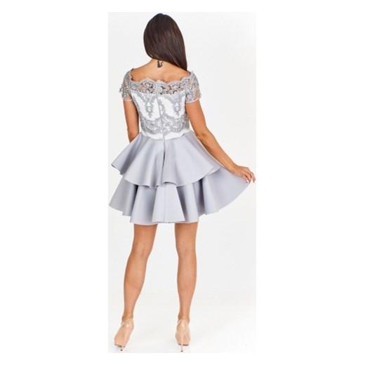 7b3ad0693e28bb Sukienka koktajlowa z koronkowym gorsetem i odkrytymi ramionami Bicotone  ptakmoda.com w Domodi