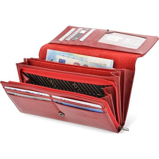1a683b63a23bb1 Wyjątkowy skórzany portfel damski z tłoczonym motywem motyla - czerwony  Cavaldi world-style.pl w Domodi