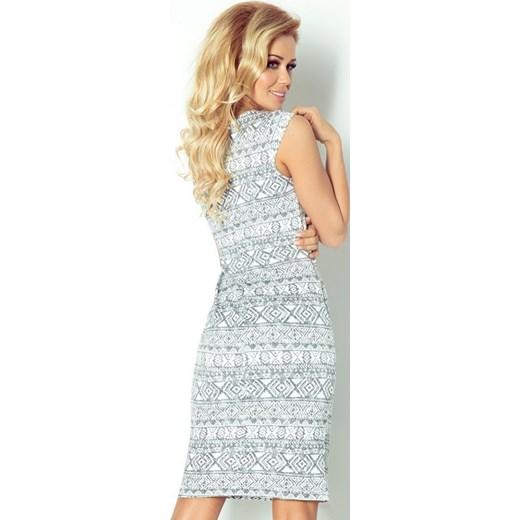 b8e9c5b155 ... 53-15 Dopasowana sukienka - ecru + etniczne szare wzory Numoco S  MyButik.pl ...